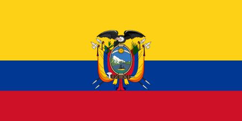 Bandera con el Escudo de Armas del Ecuador
